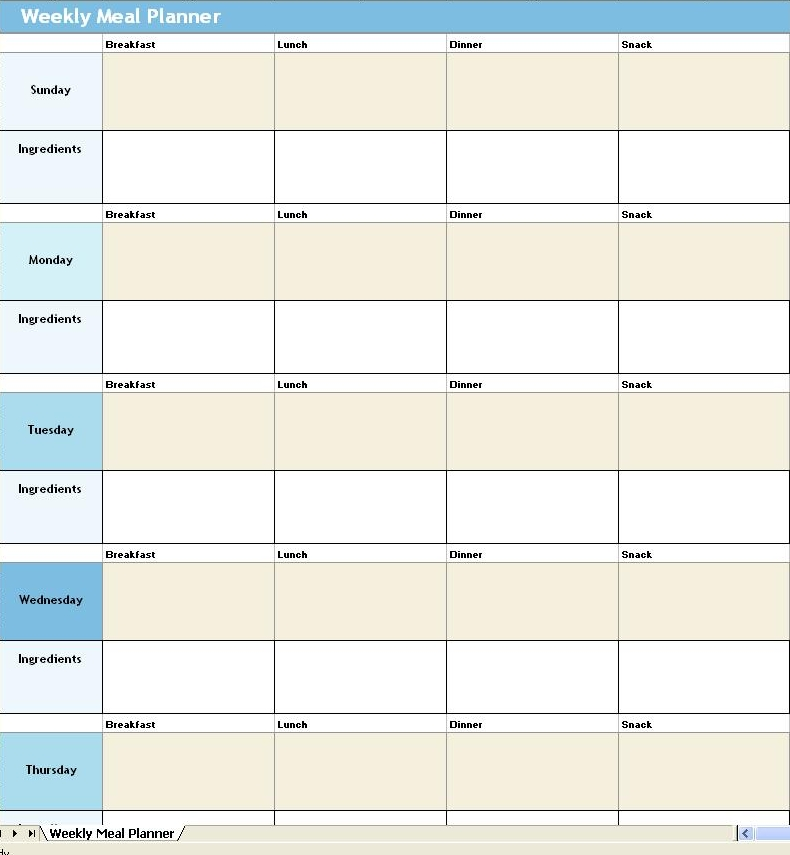 Planning meals for the entire week Mayas Kitchen – Daily Menu Planner Template