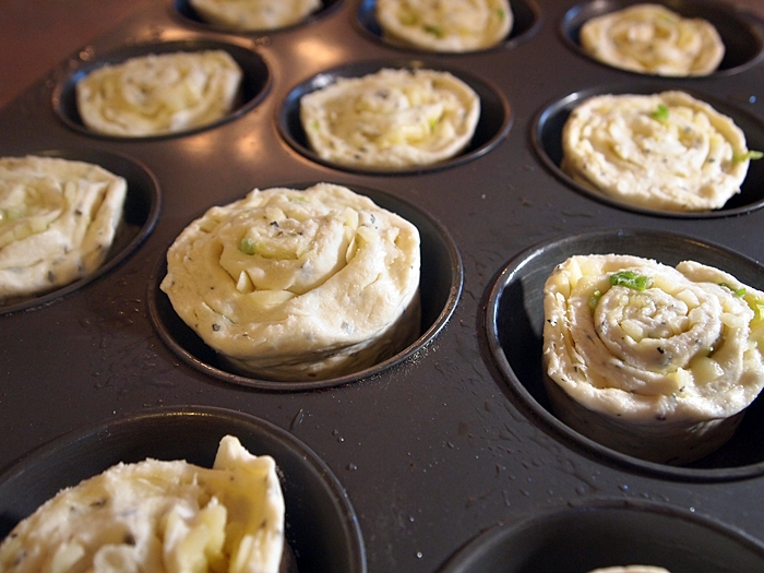 Roses facing up in muffin pan