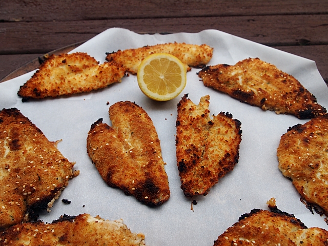 Breaded baked sole fillets