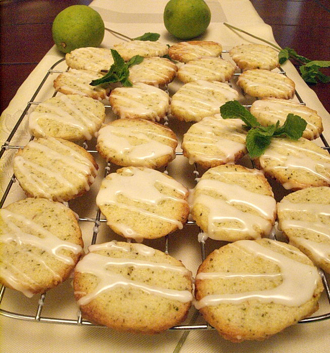 Fresh Mint and Lime Cookies Drizzled With Lemon Glaze
