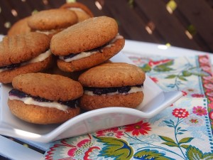 Coconut Vanilla Jam Sandwich Cookies made with Spelt Flour