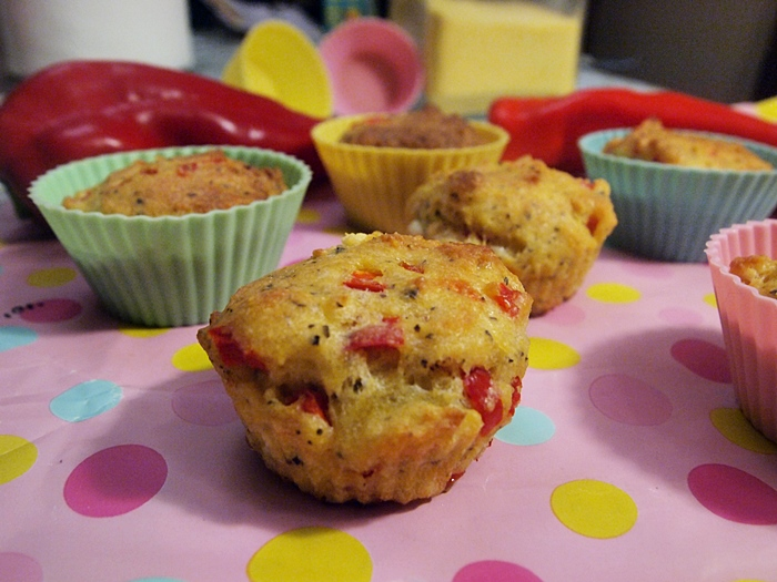 Gluten Free Bell Peppers and Goat Cheese Corn Muffins