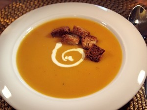 Smooth Butternut Squash Soup with croutons