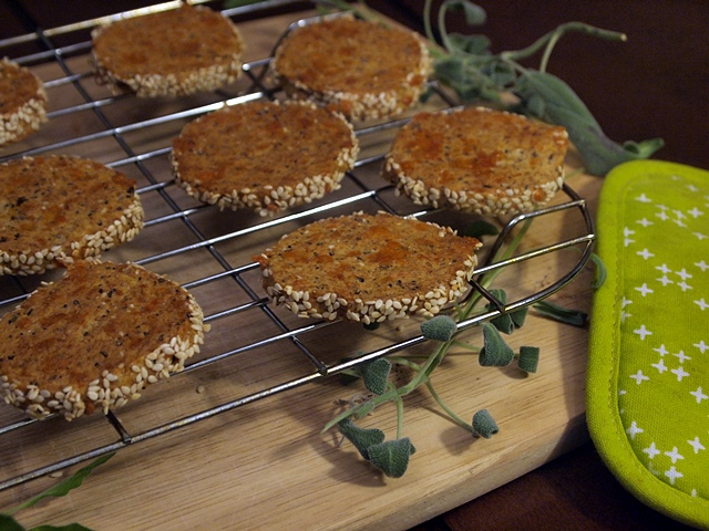 Savory Whole Wheat Rolled Cheese Crackers