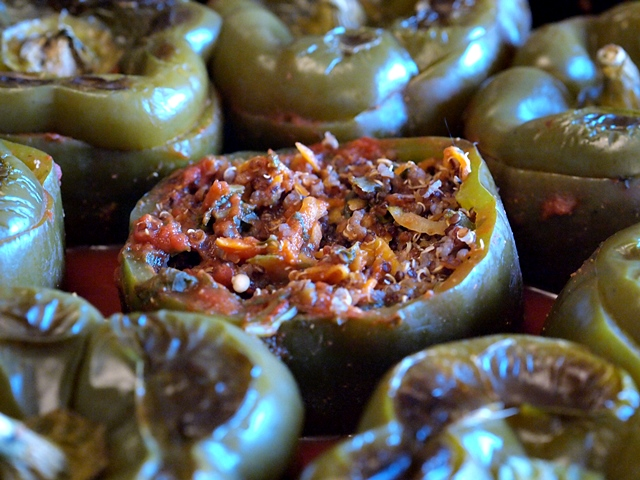Oven baked quinoa stuffed peppers
