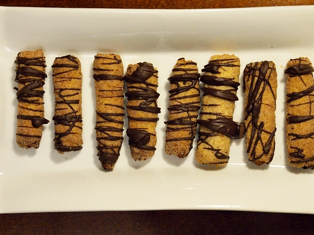 Whole Wheat Cinnamon butter fingers Drizzled With Chocolate